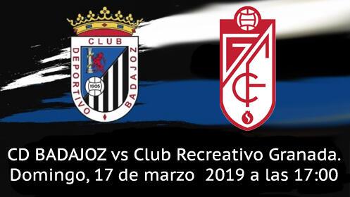 Entrada Partido CD Badajoz vs  Club Recreativo Granada