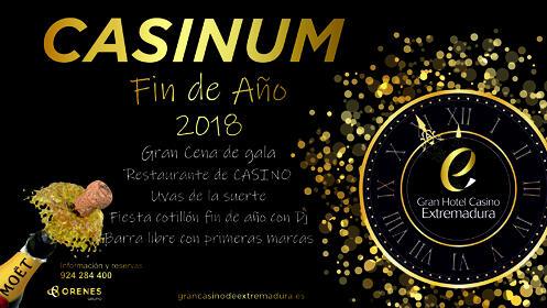 Cena y cotillón fin de año en el Gran Hotel Casino Extremadura