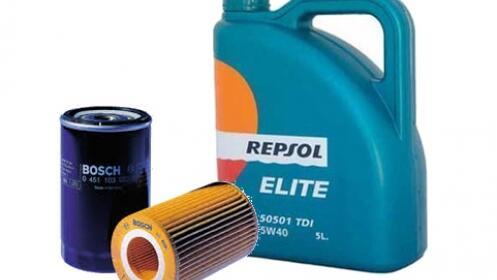 Cambio de aceite  marca Repsol y filtro, más revisión del coche