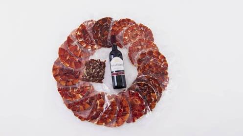 18 sobres de jamón de cebo ibérico + botella de Viña Telena Crianza