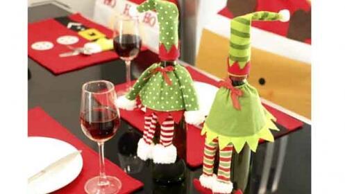 Pack de fundas de botellas con estampados navideños