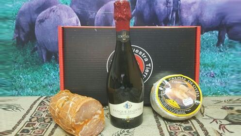 Pieza lomo doblado ibérico de bellota, queso y vino