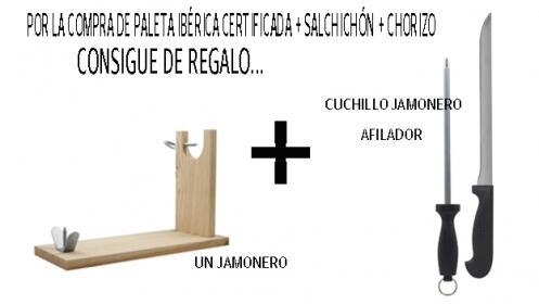 Paleta Ibérica certificada + salchichón + chorizo + regalo