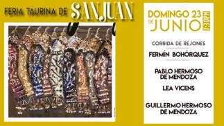 Ferias de San Juan. Corrida de rejones del 23 de Junio. Entrada SOL y SOMBRA